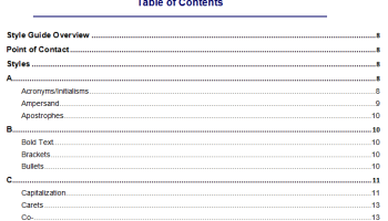 Table of content for research paper