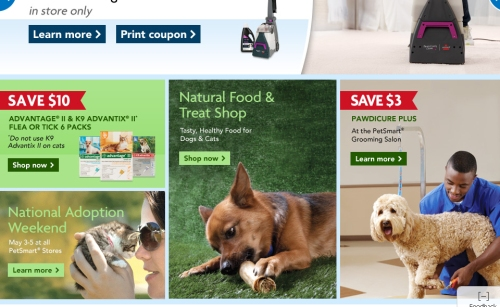 Petsmart.com was ready to take us outside for the summer, even though it was still snowing in the East and Midwest.