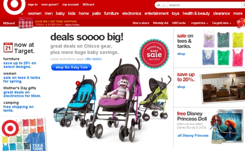 "Target.com is ready to go for the summer, though the ""d"" in ""deals"" should be capitalized."